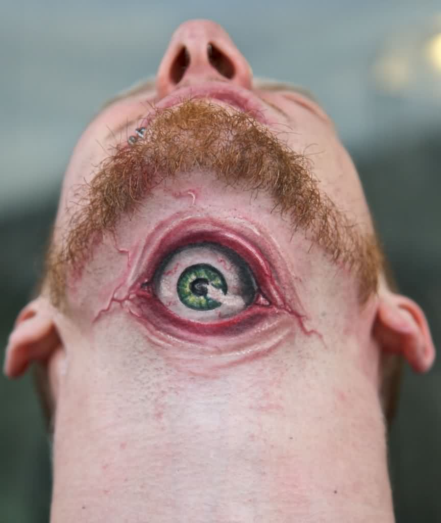 3D Green Eye Tattoo On Neck