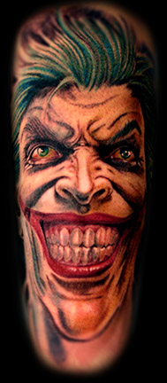 3D Green Hairs Joker Tattoo On Sleeve