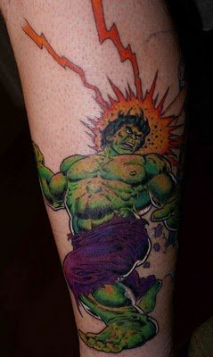 3D Green Hulk Tattoo