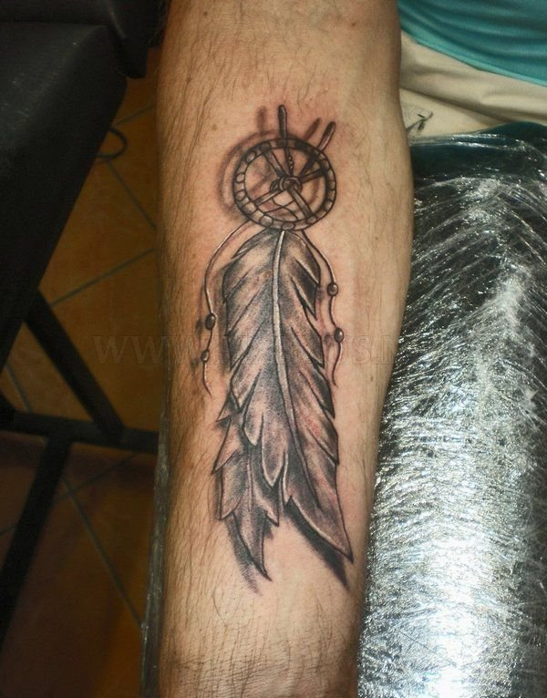 3D Grey Feather Tattoos On Arm