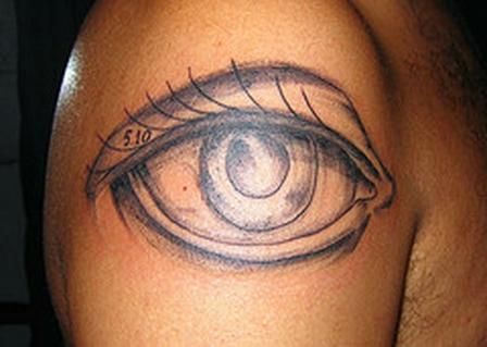 3D Grey Open Eye Tattoo On Right Shoulder