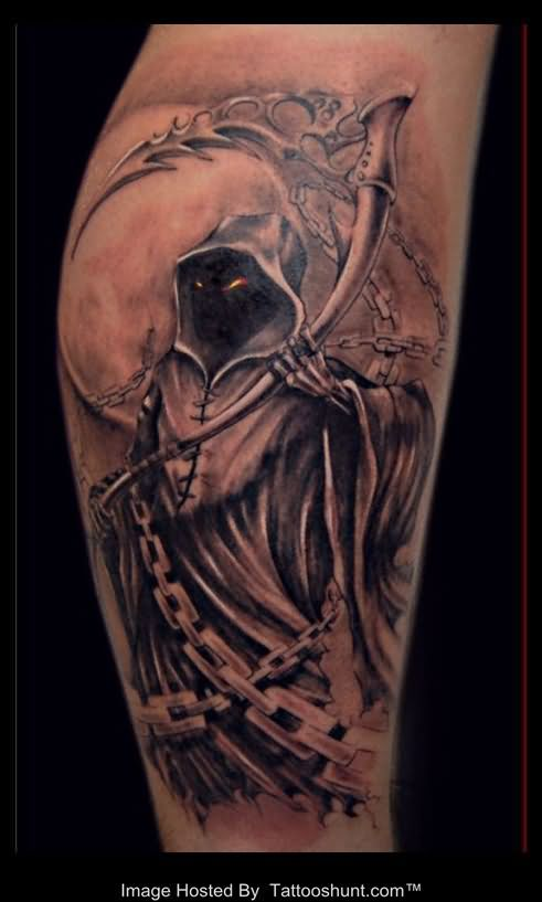 3D Grim Reaper Standing In Front Of Moon Tattoo