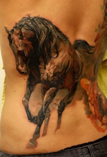 3D Horse  Tattoo On Back