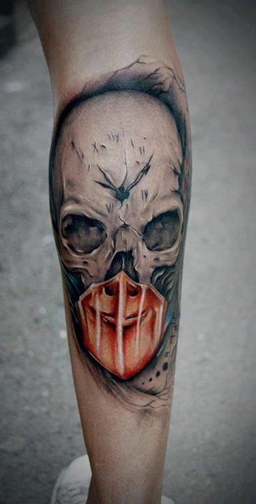 3D Jason Mask Tattoo On Thin Leg