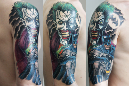 3D Joker And Batman Tattoos On Half Sleeve