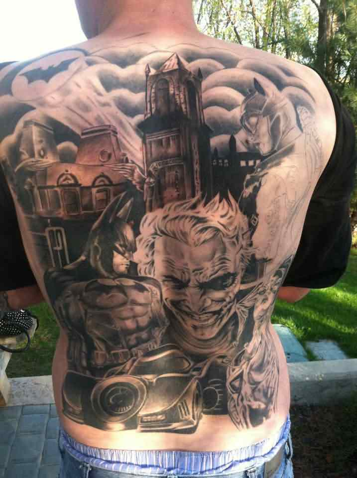 3D Joker Batman Tattoos On Whole Back