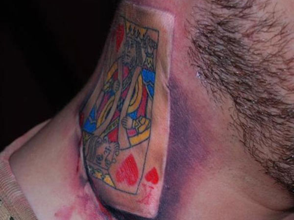 3D Joker Card Tattoo On Right Side Of Neck