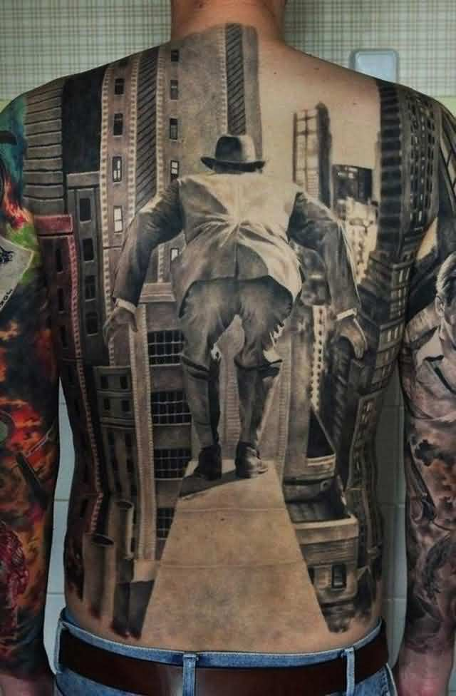 3D Jump View Tattoo On Entire Back