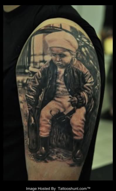 3D Kid With Bottle Tattoo On Arm