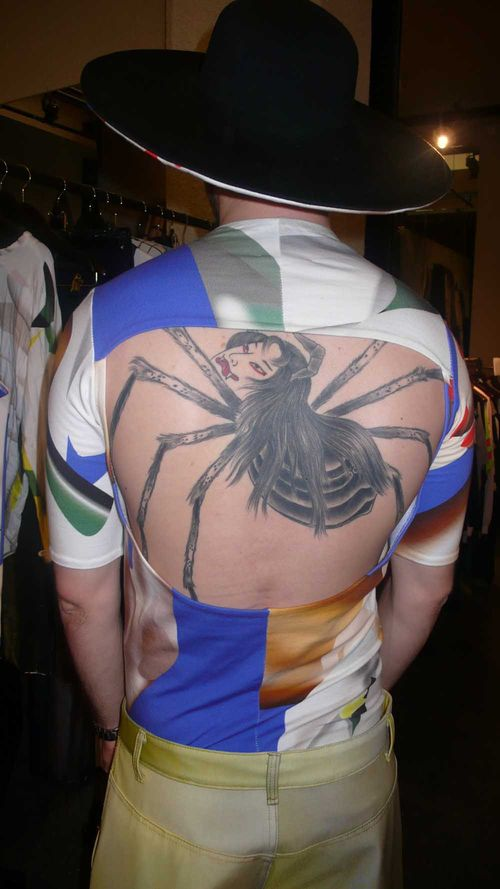 3D Lady Spider Tattoo On The Back