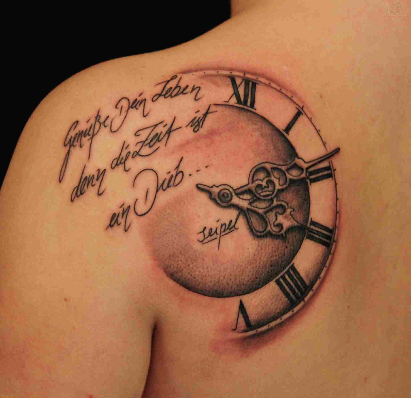 3D Lettering And Half Clock Tattoos On Back Shoulder