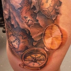 3D Map And Compass Tattoos
