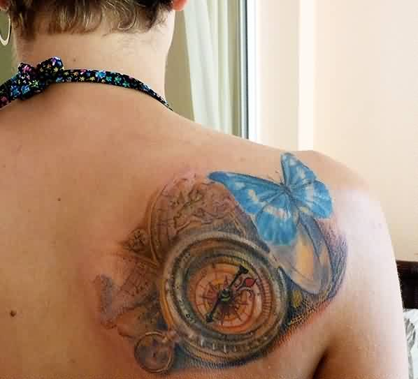 3D Map Compass And Butterfly Tattoos