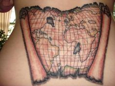 3D Map Scroll Tattoo On Back