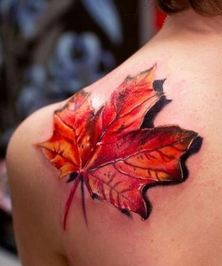 3D Maple Leaf Tattoo On Left Back Shoulder