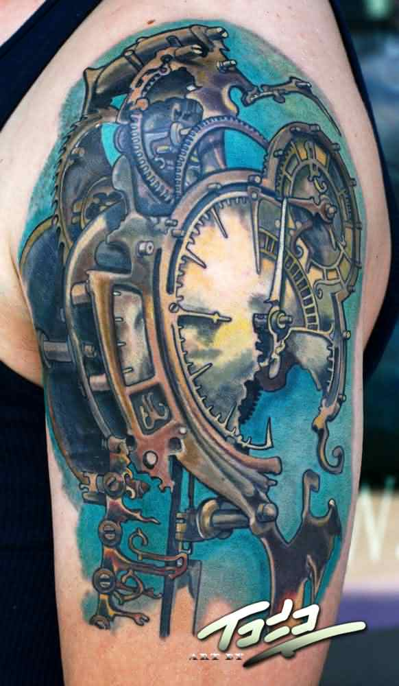 3D Mechanic Broken Watch Tattoo On Upper Sleeve