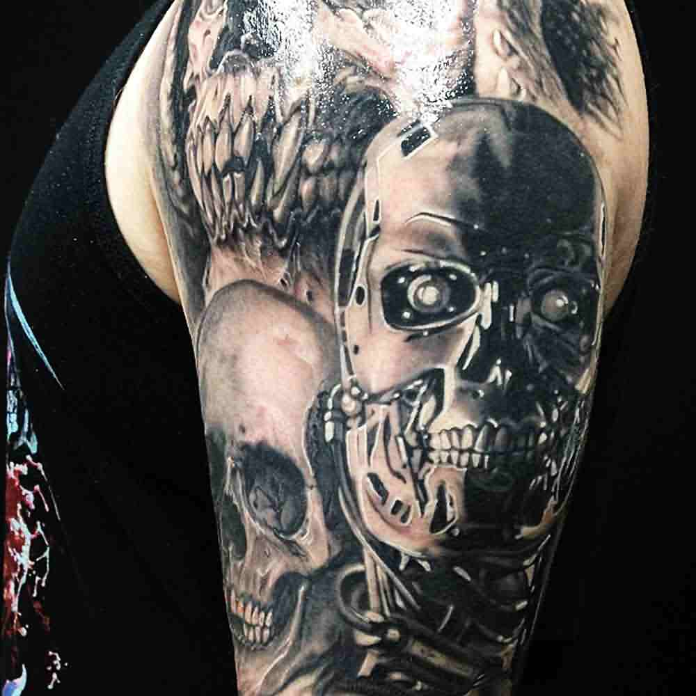 3D Mechanic Skull Tattoos On Sleeve