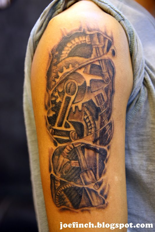 3D Mechanical Rip Skin Tattoo On Arm For Boys