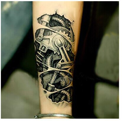 3D Mechanical Tattoo On Lower Arm