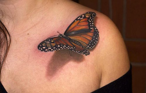 3D Monarch Butterfly Tattoo On Front