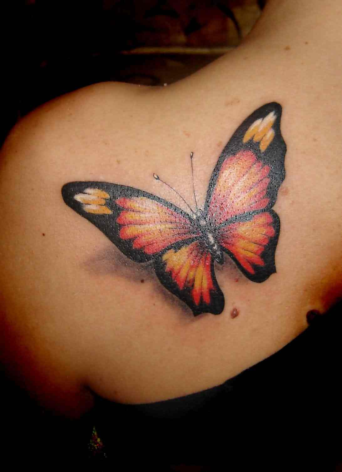 3D Monarch Butterfly Tattoo On Left Back Shoulder