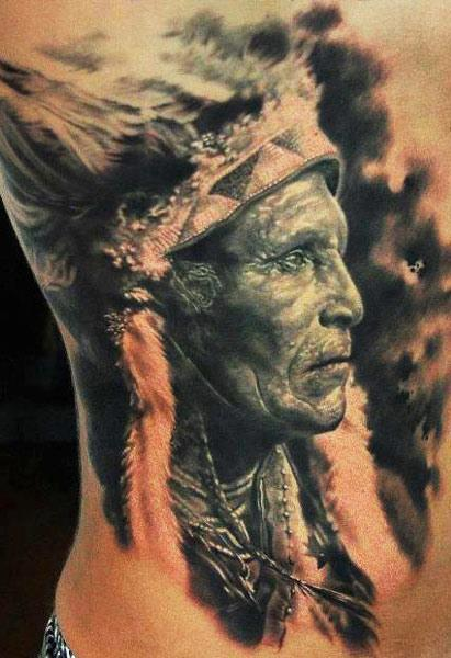 3D Native American People Portrait Tattoo On Right Side