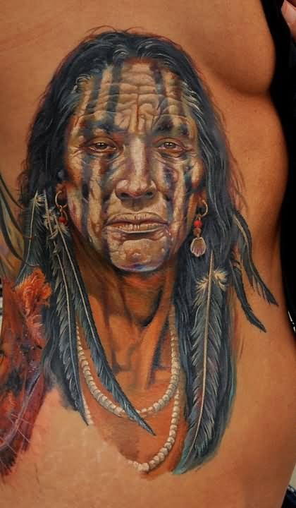 3D Native People Portrait Tattoo On Side