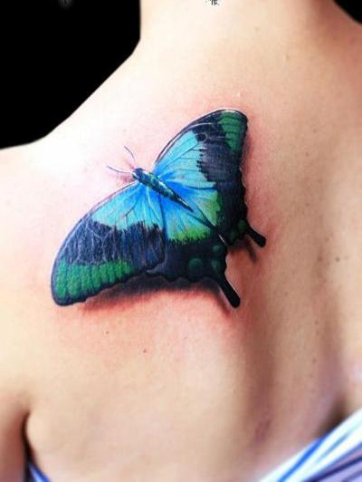3D Nature Scene Butterfly Tattoo
