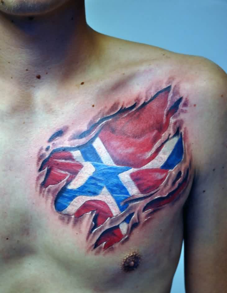 3D Norsk Flag Skin Rip Tattoo On Chest