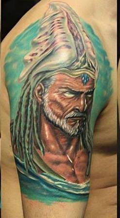 3D Old Man Portrait Tattoo On Half Sleeve