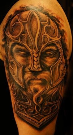 3D Old Viking Tattoo On Half Sleeve