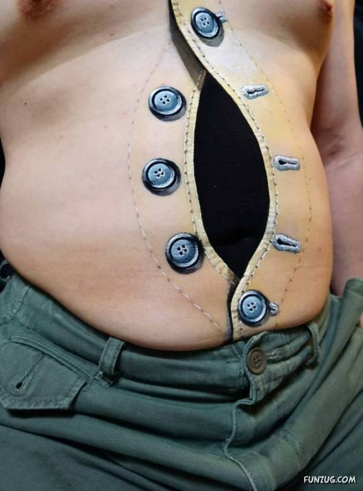 3D Open Button Tattoos On Stomach