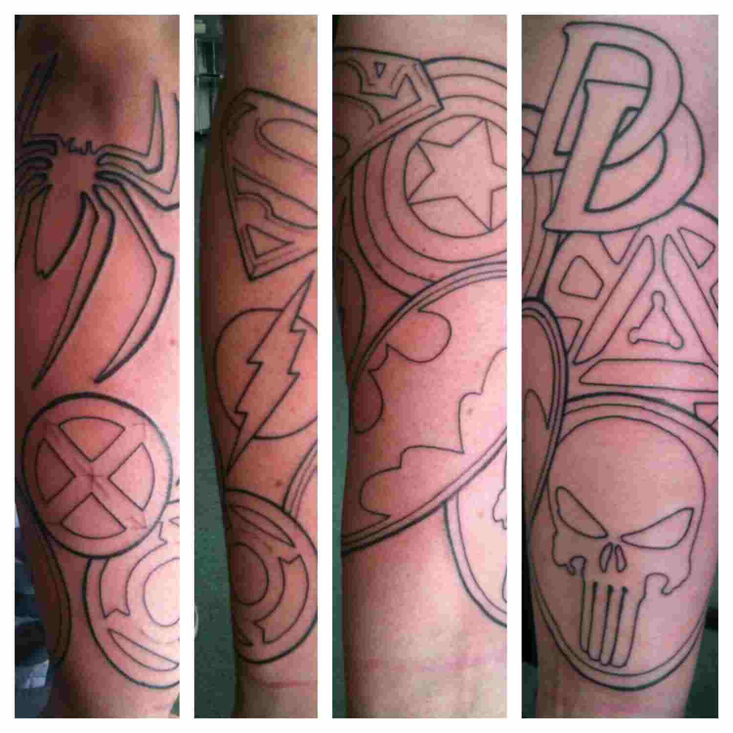 3D Outline Superhero Logo Tattoos On Sleeve