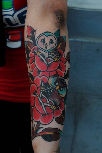 3D Owl Red Roses Tattoos On Arm