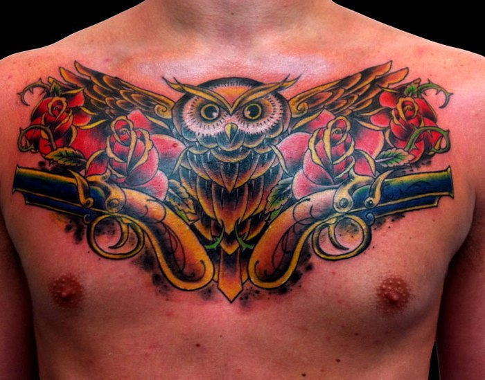 3D Owl Rose And Pistol Tattoos On Chest