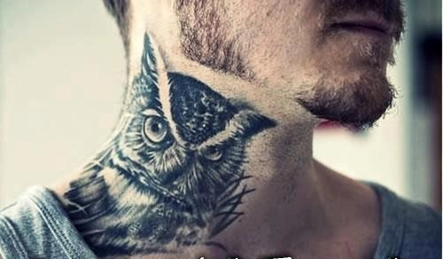 3D Owl Tattoo On Side Neck