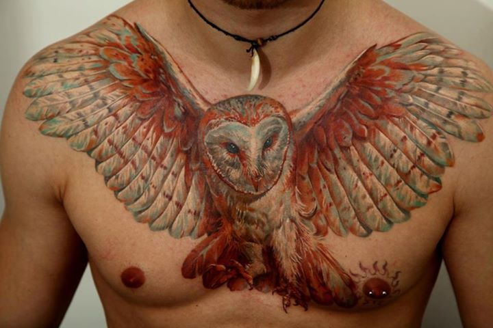 3D Owl With Open Wings Tattoo On Chest