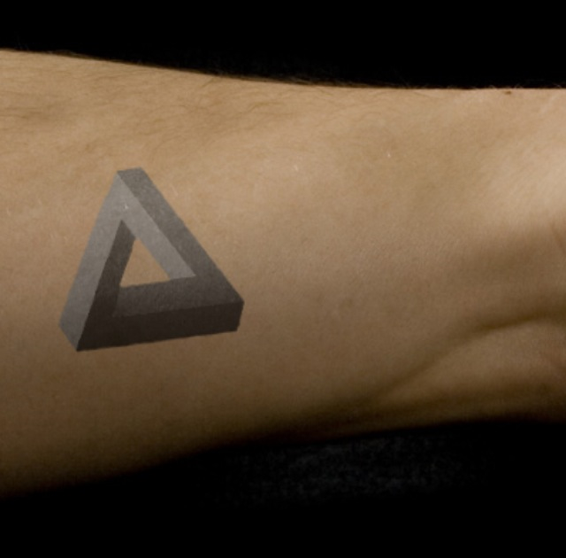 3D Penrose Triangle Tattoo On Arm