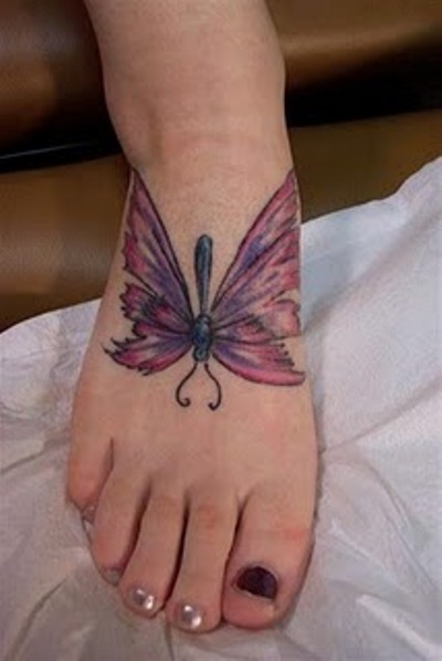 3D Pink Wings Butterfly Tattoo On Foot