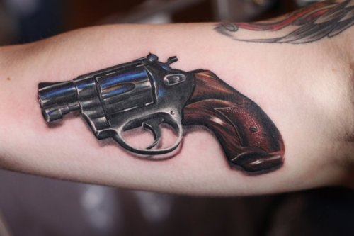 3D Pistol Tattoo Specially For Men