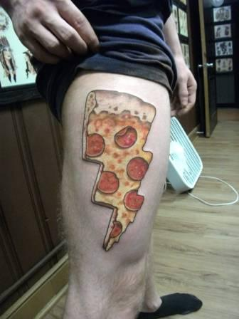 3D Pizza Slice Tattoo On Thigh For Men
