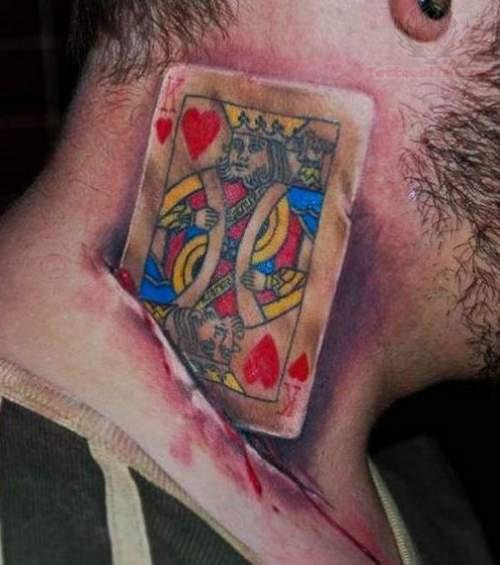3D Playing Card Cut Tattoo On Neck