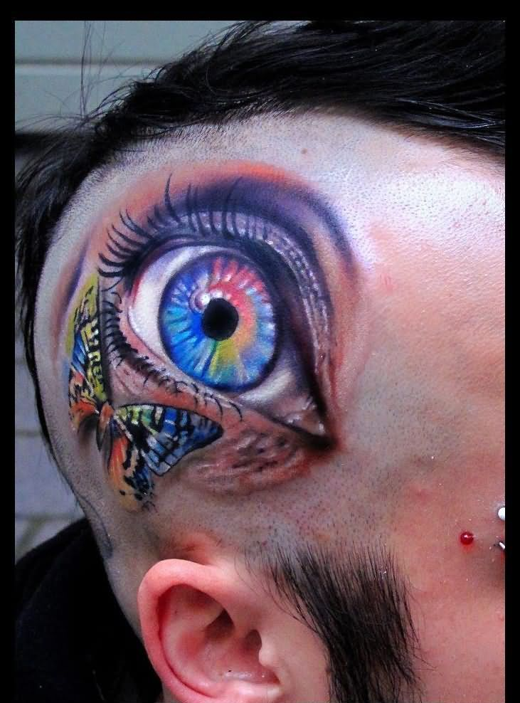 3D Rainbow Butterfly And Eye Tattoos On Head