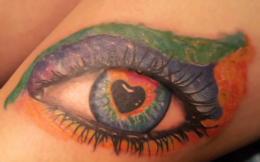 3D Rainbow Color Heart Eye Tattoo