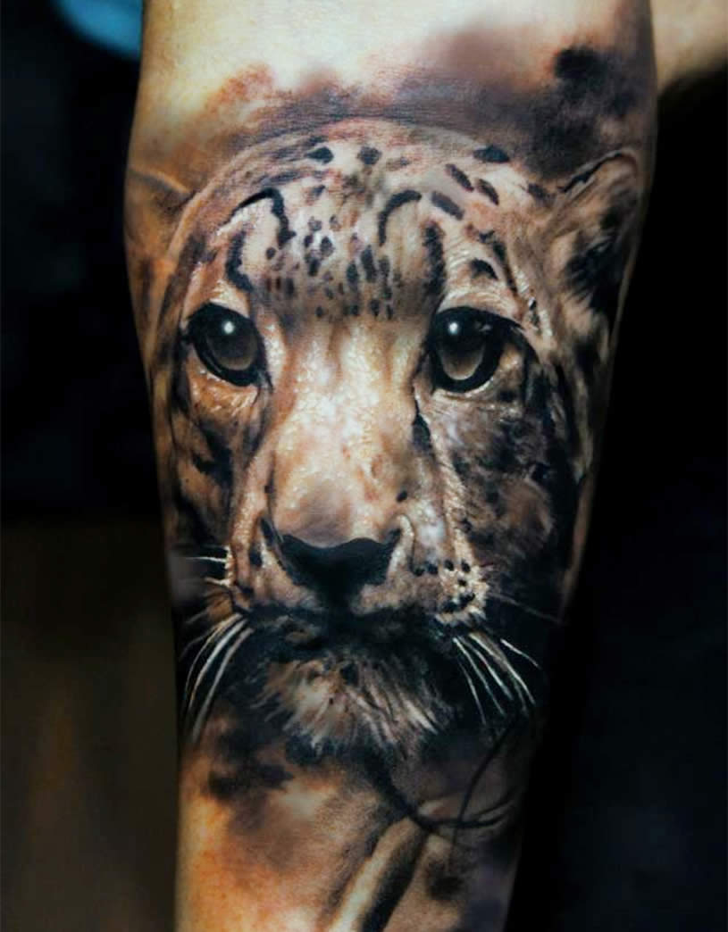 3D Realistic Tiger Face Tattoo