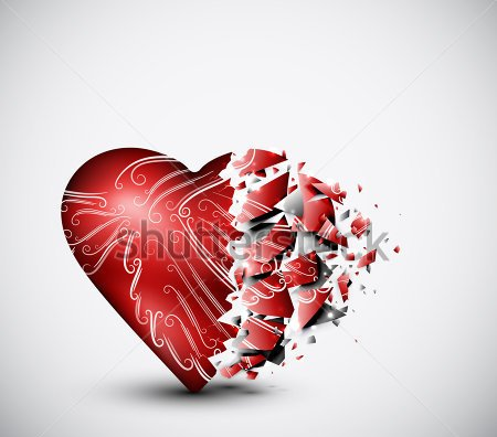 3D Red Broken Glass Heart Tattoo Graphic