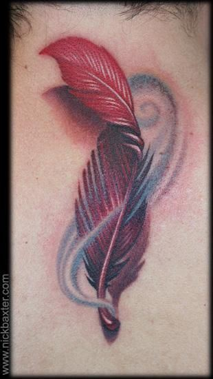 3D Red Feather And Blue Swirls Tattoos