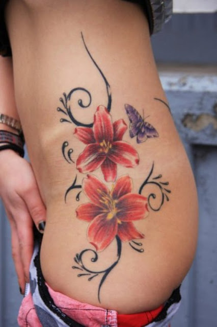3D Red Flowers With Butterfly Tattoos On Waist