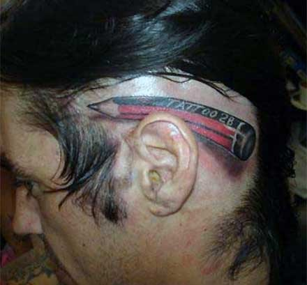 3D Red Pencil Behind Ear Tattoo