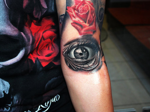 3D Red Rose And Open Eye Tattoos On Arm